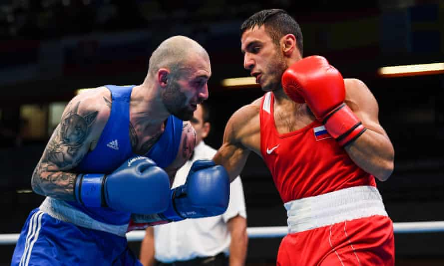 Gabil Mamedov of Russia (right), in action during the Olympic qualifying event at the Copper Box Arena in London.