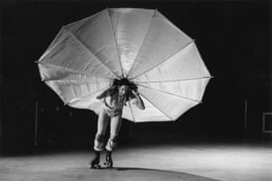 Pelican, from 1963, in which Rauschenberg rollerskated
