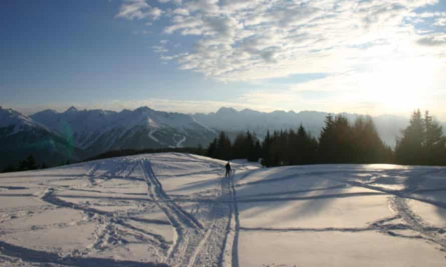 Aprica, Italy. View of a ski resort at sunrise.