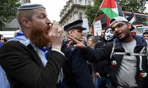 Demonstrators outside Downing Street before Binyamin Netanyahu's arrival