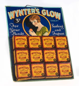 An early example of a point-of-sale display board, this 1924 board for Wynter Bros' Glow tablets, a preparation for chapped hands, contains boxes of the product