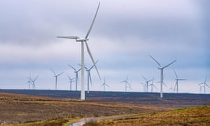 Wind turbines at Whitelee Windfarm in East Renfrewshire, Scotland, operated by Scottish power.