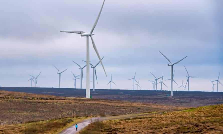 Wind turbines at Whitelee Windfarm in East Renfrewshire, Scotland.