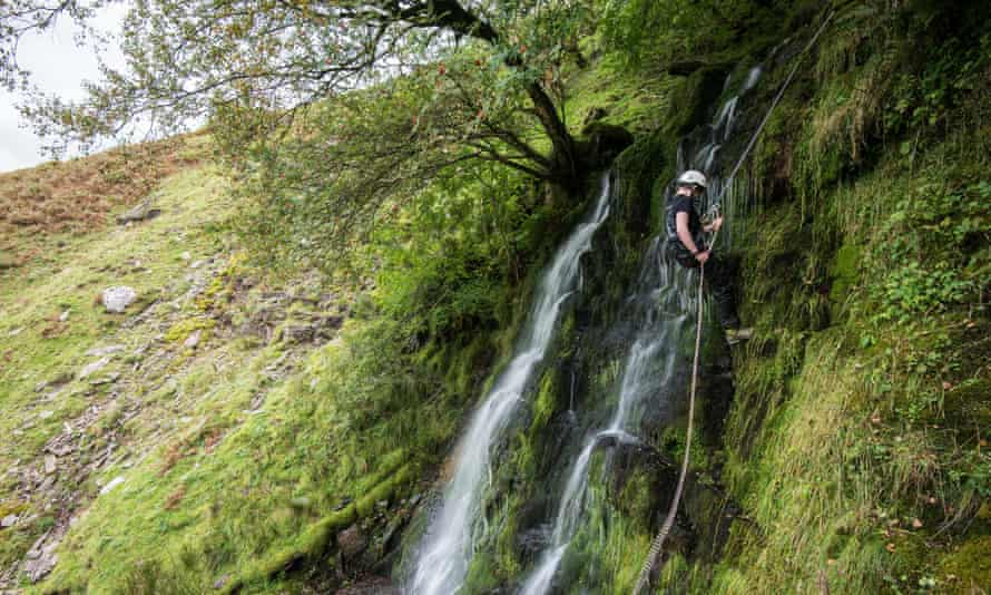 Abseiling in the Brecon Beacons. Secret Compass UK Adventure Weekend