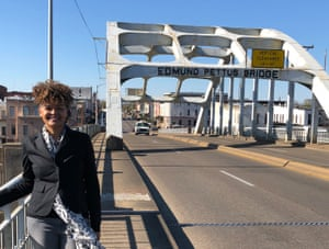 Dolen Perkins-Valdez at The Edmund Pettus Bridge in Selma, Alabama