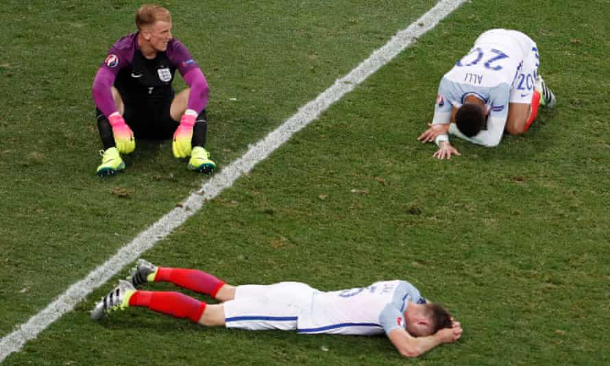 Missery complete: Joe Hart, Dele Alli and Gary Cahill after the Iceland game in 2016.