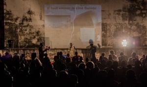 Announcing the beginning of Ciné Guimbi's construction, Burkina Faso.