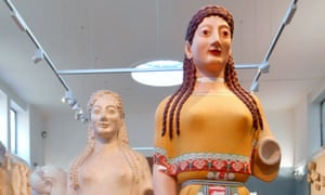 some of the statues displayed during Gods in Colour at the Ashmolean Museum.