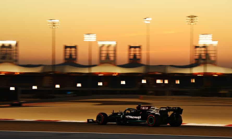 Lewis Hamilton's Mercedes pictured during testing in Bahrain