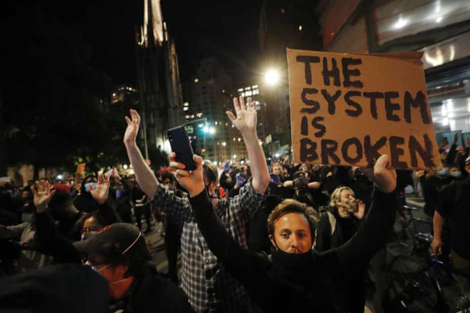 A protest in New York City against the death of George Floyd, who died in custody of Minneapolis police.