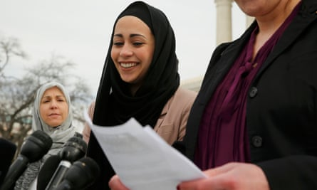 Samanth Elauf stands with her mother outside the US Supreme Court in Washington in February 2015.Elauf was denied a sales job at an Abercrombie Kids store in Tulsa because of her hijab.