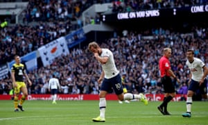 Harry Kane celebrates after putting Spurs back into the lead.