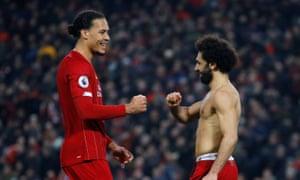 Goalscorers Virgil van Dijk and Mohamed Salah celebrate at the final whistle.