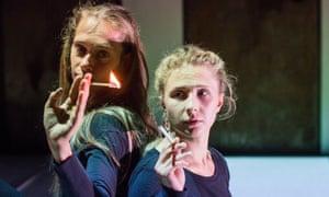 Mariya Sazonava and Mariya Alyokhina in Burning Doors by the Belarus Free Theatre in London in 2016.