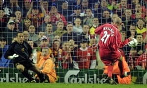Future Liverpool goalkeeper Pepe Reina can only look on as McAllister seals Liverpool's victory over Barcelona in their Uefa Cup semi-final, second leg tie at Anfield