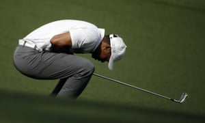 Tiger Woods not happy with his approach shot on the 10th
