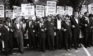 John Lewis, far left, and Martin Luther King, fourth from left, and other civil rights leaders ON the March on Washington in August 1963.