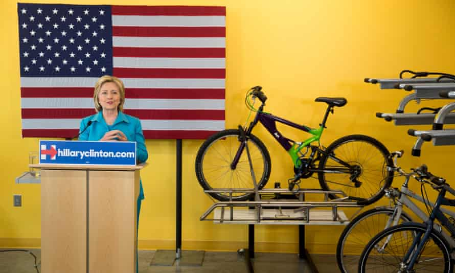 Democratic presidential hopeful Hillary Rodham Clinton talks about her environmental plan during a visit to the LEED Platinum certified DART Central Station in Des Moines, Iowa on 27 July.