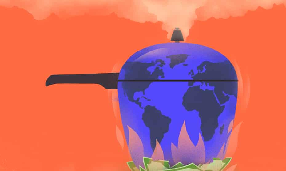 Illustration – of world as a pot, simmering dangerously – by Sébastien Thibault