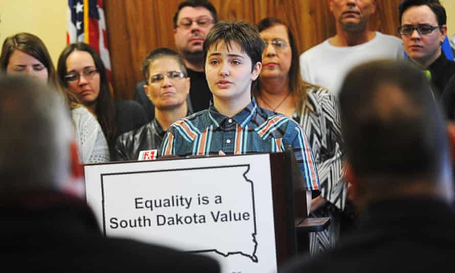 Thomas Lewis, an 18-year-old transgender student at Lincoln High School in Sioux Falls, South Dakota, speaks during a press conference on Tuesday.
