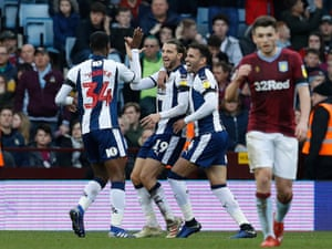 West Bromwich Albion's Jay Rodriguez (centre) is congratulated by Hal Robson-Kanu (right) and Rekeem Harper after scoring the Baggies' second.