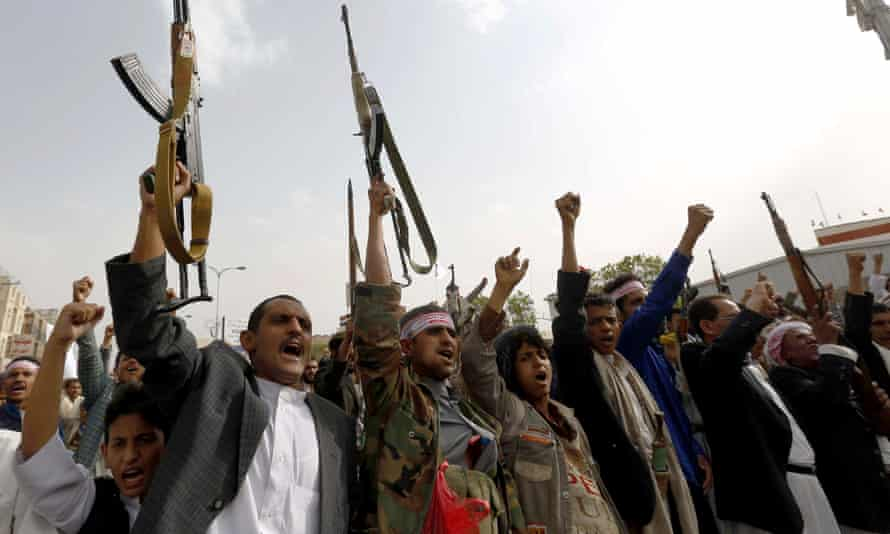 Supporters of the Shia Houthi group gather to protest against the Saudi-led air strikes in Sanaa, Yemen, on Friday.