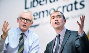 Former President of the Liberal Democrats Tim Farron (right) and MP for North Norfolk, Norman Lamb.
