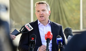 Chris Bowen speaks outside his childhood home in the western Sydney suburb of Smithfield after announcing he will run to be Labor leader