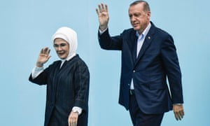 Erdoğan and his wife, Emine, arrive for an AK party rally in Yenikapi Square in Istanbul.
