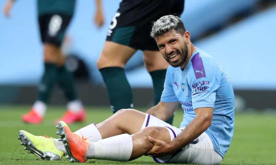 Sergio Agüero feels his knee during match v Burnley in June