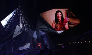 Lorde, appears on video-link to accept the award for international female solo artist.