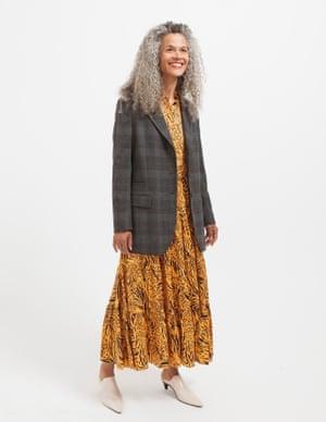 model wears dress, £145, kitristudio.com. Mules, £135, cosstores.com.