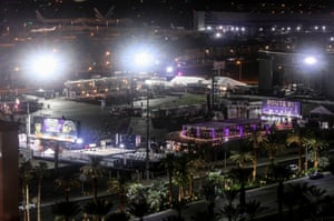 A view from a nearby building of the scene at Route 91 country music festival