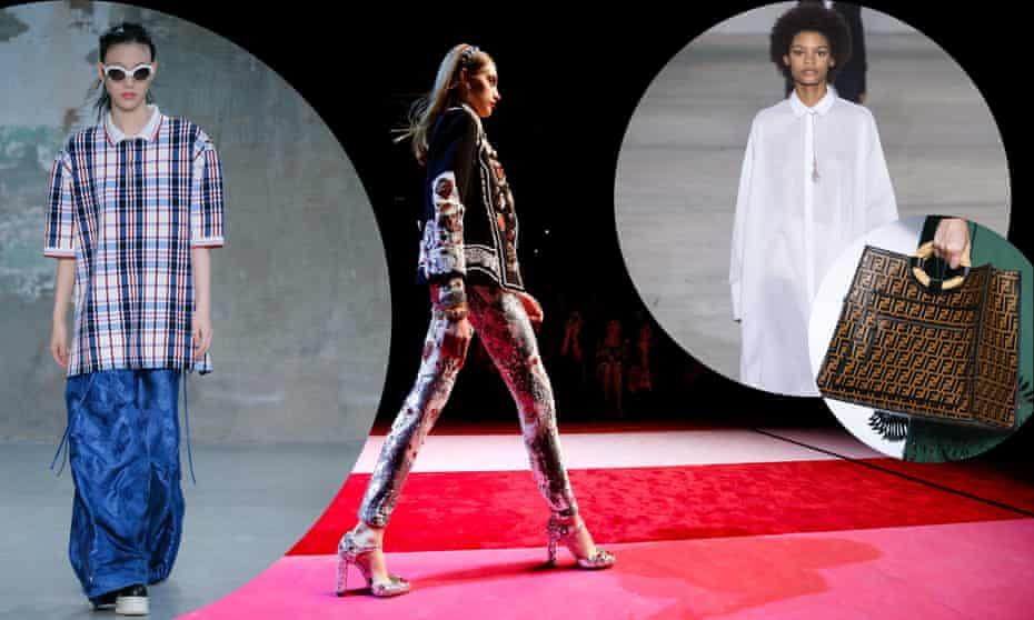 XXL clothing, leggings and logos were revived at Milan fashion week.