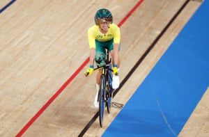 Australia's Paige Greco celebrates winning Gold in the Women's C1-3 3000m Individual Pursuit during the Track Cycling at the Izu Velodrome on day one of the Tokyo 2020 Paralympic Games in Japan.