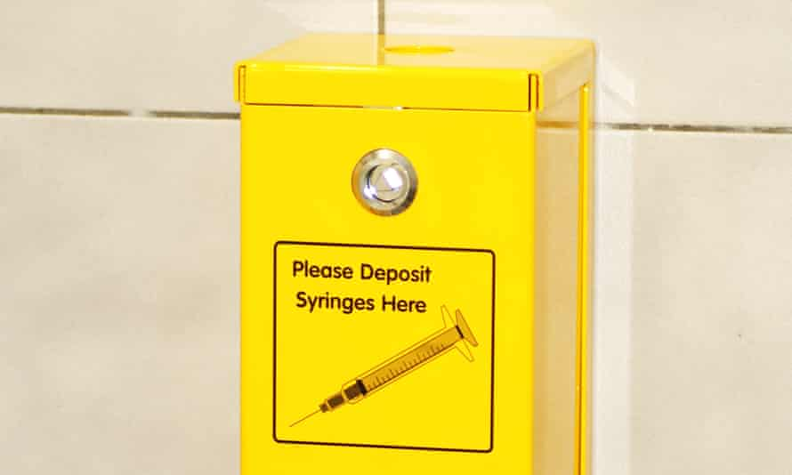 A sharps container on a toilet wall in Australia