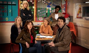 Motherland (from left): Anne (Philippa Dunne), Amanda (Lucy Punch), Liz (Diane Morgan), Julia (Anna Maxwell Martin), Meg (Tanya Moodie) and Kevin (Paul Ready).