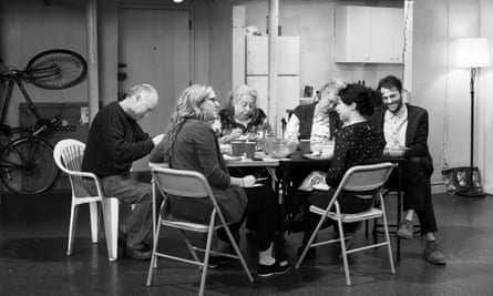 Duplex disaster: Reed Birney, Jayne Houdyshell, Lauren Klein, Arian Moayed, Sarah Steele and Cassie Beck in The Humans.