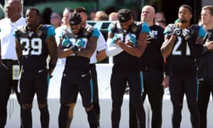 Jacksonville Jaguars players knelt before the anthem before standing when the Star-Spangled Banner was played