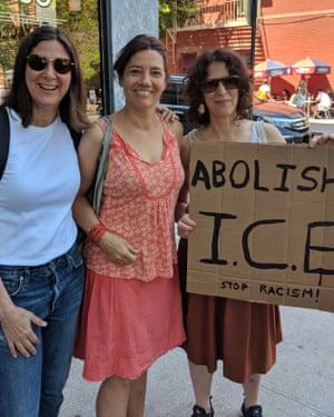 Jackie Meier (center) and her friends protest in New York City on June 30, 2018, against the Trump administration's immigration policy separating families at the border.