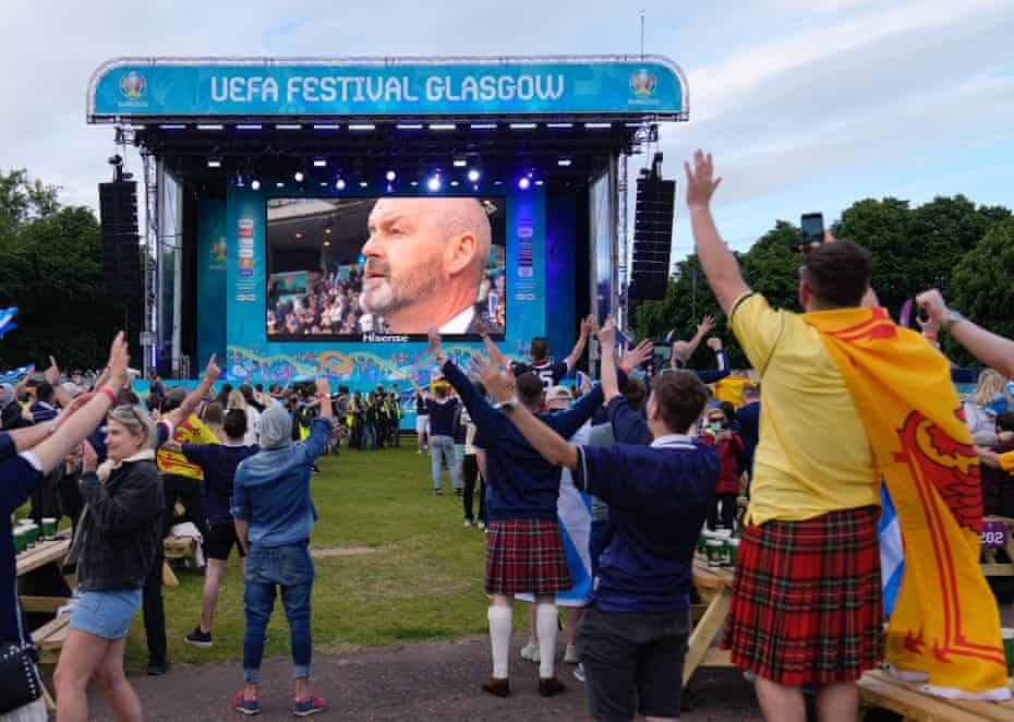 Fans at Glasgow's official Fan Zone cheer when manager Steve Clarke's appears on the giant screen during the match against Croatia, but will the goodwill remain if his team fail to qualify for the World Cup?