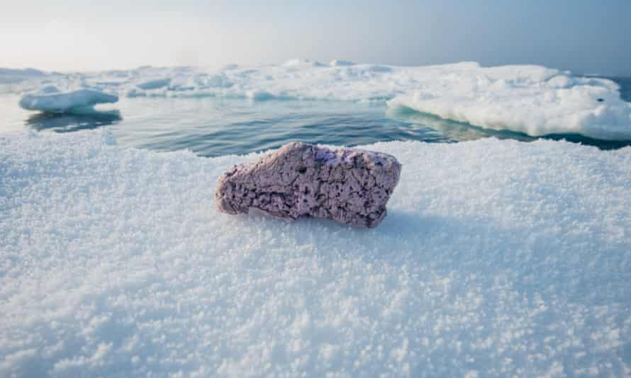 Plastics pollution on an ice floe in the middle of the Arctic Ocean.