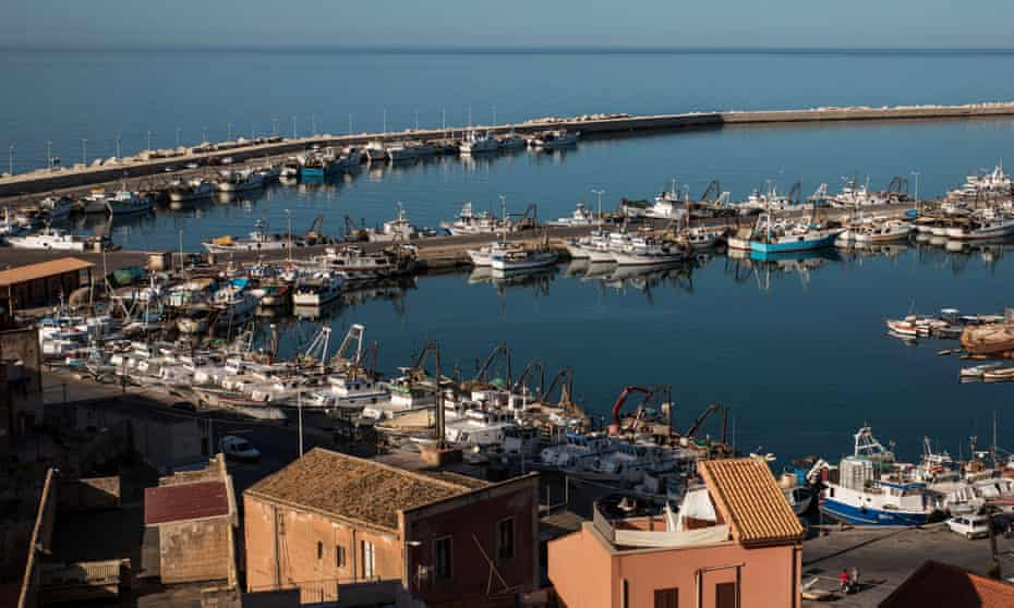 The port of Sciacca, Sicily, surrounded by old fishermen's houses.