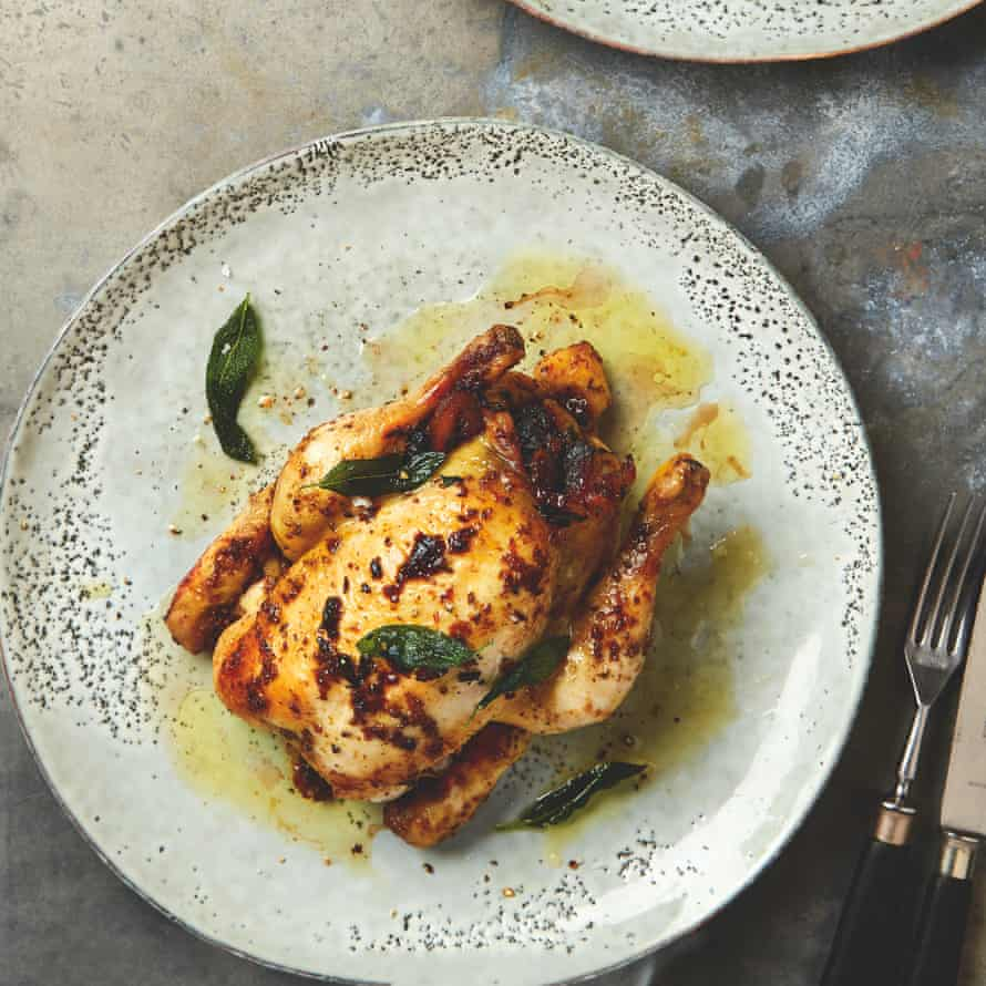 Yotam Ottolenghi's roast poussins stuffed with chestnut, pancetta and pear