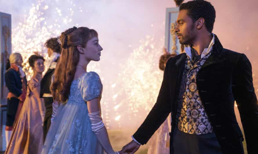 Phoebe Dynevor and Rege-Jean Page in a scene from Bridgerton.