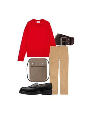 Chidozie Obasi, UK editor at FY! Magazine 'Add some mood-boosting red to a neutral look.' Jumper, £245, amiparis.com. Belt, £38, allsaints.com. Trousers, £70, finisterre.com. Loafers, £275, grenson.com. Pouch, £35, samsoe.com