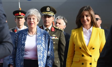 Theresa May arrives in Sharm El-Sheikh, Egypt. The PM has delayed an expected vote on her deal this week.