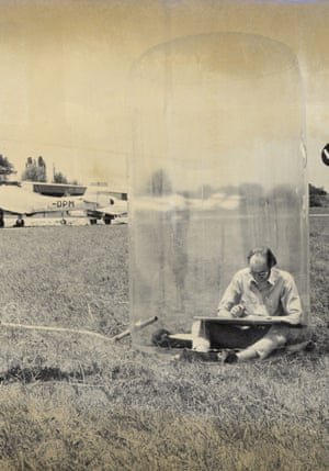 Hans Hollein in his transparent Mobile Office, 1969.