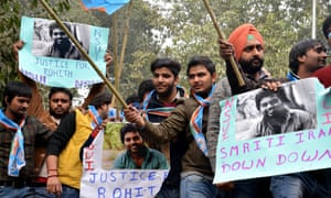 Students in New Delhi protest at an anti-government rally after the suicide of Rohith Vemula.