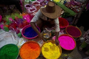 A street vendor sells coloured powder in Gauhati, in the north-eastern state of Assam